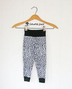 Baby Leggings Black & White Knit Toddler Leggings by GenesisAire
