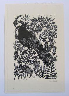 KirstenSchmidt. Swimming with crow. linocut