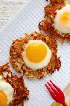 Egg and Crispy Potato Nests on Weelicious