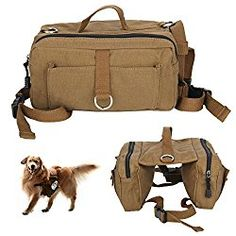 ALLY Canvas Dog Backpack Saddle Bag for Medium and Large Dog, idea for Outdoor Hiking Camping Training
