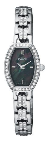 Pulsar Women's PEGC95 Crystal Accented Dress Silver-Tone Black Mother of Pearl Dial Watch Pulsar. $67.50. Base metal case; black-mother-of-pearl dial. Water-resistant to 99 feet (30 M). Strong Hardlex crystal protects watch from excessive wear on dial. Accented with 76 Swarovski crystals with side crystal detailing. Quality Japanese-quartz movement