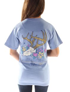 Lily Grace brings us this cute Deer Flower Tee in Washed Denim. This is a classic style t-shirt that features a crew neckline, short sleeves, a front pocket with the Lily Grace logo on it, and a back