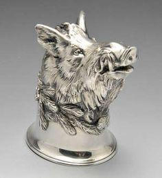 LOT:294 | An early twentieth century German cast silver stirrup cup realistically modelled as a boar.