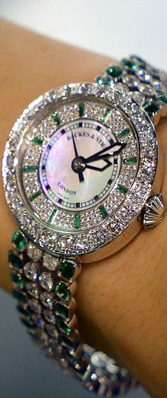 Diamond Watches Ideas : The Backes + Strauss Harrods Princess ~ Anniversary Watch w Diamonds and Em. - Watches Topia - Watches: Best Lists, Trends & the Latest Styles High Jewelry, Jewelry Accessories, Silver Jewelry, Effy Jewelry, Bling Jewelry, Bling Bling, Luxury Watch Brands, Anniversary Jewelry, Beautiful Watches