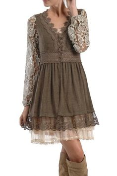 Women's Vintage Lace Sweater - the under layer dress is a must with this one!