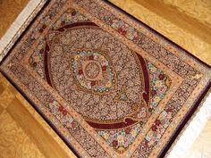 トップクラスシルク手織りペルシャ絨毯クム56080