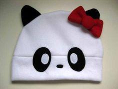 Anime Fleece Hat PANDA HELLO KITTY cat - Cosplay Character Cute Kawaii   HappiBoshi - Accessories on ArtFire