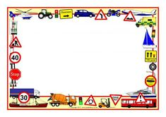Transport-Themed Page Borders Printable Border, Printable Labels, Scrapbook Frames, Transportation Theme, Page Borders, Free Teaching Resources, Free Boxes, Kokeshi Dolls, Peyote Patterns