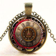 Vintage Printed Clock Pendant Silver/Bronze Chain Necklace