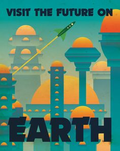 Earth Retro Planetary Travel Poster by Justonescarf on Etsy