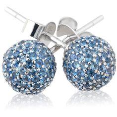 Loushelou Blue Sapphire Studs ($1,055) ❤ liked on Polyvore featuring jewelry, earrings, blue, blue stud earrings, handcrafted jewelry, blue sapphire earrings, studded jewelry and blue jewelry