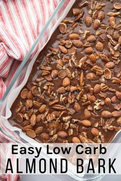 This Easy Keto Chocolate Almond Bark recipe is like a homemade candy bar with all your favorites. Basically, you pour the sugar-free chocolate base it into a pan, add toppings, refrigerate, and then break apart for a delicious keto and low carb dessert. Low Carb Candy, Keto Candy, Low Carb Sweets, Low Carb Dessert Easy, Chocolate Almond Bark, Sugar Free Chocolate, Delicious Chocolate, Chocolate Desserts, Desserts Keto