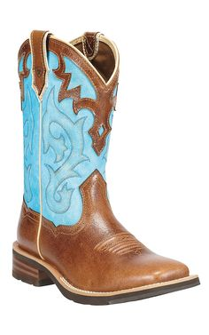 Ariat Unbridled Women's Coyote Brown with Cielo Blue Top Square Toe Cowboy Boots