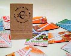 Handmade b-cards made out of cereal boxes and a stamp!