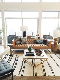 modern meets traditional living room design with leather tufted sofa and modern coffee table decor, neutral living room design with leather sofa, Studio McGee Home Living Room, Apartment Living, Living Room Designs, Living Spaces, Apartment Interior, Room Interior, Apartment Goals, Cozy Apartment, Living Room Decor Tan Couch