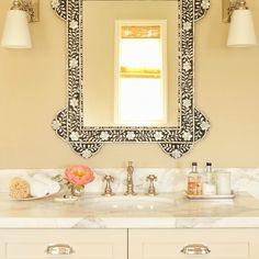 Bone Inlay Mirror, Transitional, bathroom, Taylor Borsari