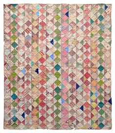 """crib quilt, cottons, unknown maker, USA, c. 1860, 35"""" x 40"""" This week I received a bag full of goodies from a friend who is downsizing...."""