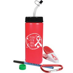 "Red Ribbon Bottle Kit ""I pledge to be drug free"" Red Ribbon Week, Drug Free, Our Kids, Drugs, Water Bottle, Kit, Water Flask, Water Bottles"