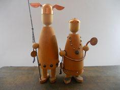 Swedish vintage wood viking figurines Jamtland Harjedalen Slojdalster Teak  Copper Swedish Viking Mid Century Scandinavian collectible