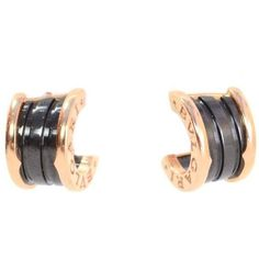 Preowned Bvlgari Bulgari B.zero1 18k Pink Gold And Black Ceramic... ($1,600) ❤ liked on Polyvore featuring jewelry, earrings, pink, 18 karat gold jewelry, black gold earrings, 18k jewelry, bulgari earrings and earring jewelry