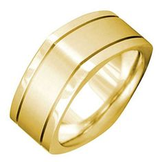 14K Gold Carved Lines Womens Square Comfort Fit Wedding Band 85mm Size8 * Check this awesome product by going to the link at the image. (This is an affiliate link and I receive a commission for the sales)