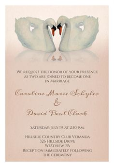 Two Swans Free Printable Wedding Invitation Template