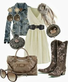 Vintage Cowgirl- absolutely love this definately going to try to recreate this look minus the stupid giant glasses Country Girls Outfits, Country Girl Style, Country Fashion, Cowgirl Outfits, Cowgirl Style, Cowgirl Chic, Country Chic, Cowgirl Clothing, Country Dresses
