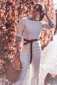 All white in cashmere and denim culottes with a leather knot belt, basket bag and Fitflop pilar clog sandals Denim Culottes, Clog Sandals, Basket Bag, Fitflop, Isabel Marant, Capsule Wardrobe, Knot, Cashmere, Essentials