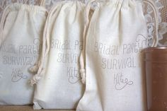 Bridal Party Survival Kit BAGS ONLY  - Bridesmaids, Maid of Honor, Matron of Honor, Flower Girl - Wedding Party Favors or Gifts