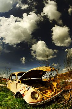 retired, vw, blue sky, clouds, yellow