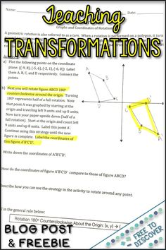 Check out these strategies for teaching geometric transformations in grade and geometry. Ideas include hands-on activities with manipulatives, discovery learning, games and more. Scoop up a free resource to kickstart your unit, too! Ideas are appropr Transformations Math, Geometric Transformations, High School Activities, Math Activities, Math Lesson Plans, Math Lessons, 10th Grade Math, Eighth Grade, Geometry Interactive Notebook