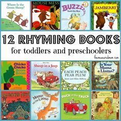 Great list of rhyming books for toddlers and preschoolers!