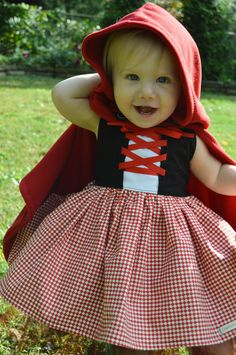 Guess what K is going to be this year for Halloween? Little Red Riding Hood! Isn't this costume precious? These pics are from . Cute Costumes, Halloween Costumes For Girls, Baby Costumes, Halloween Kids, Happy Halloween, Baby Wolf Costume, Costume Ideas, Red Riding Hood Costume Kids, Red Riding Hood Party