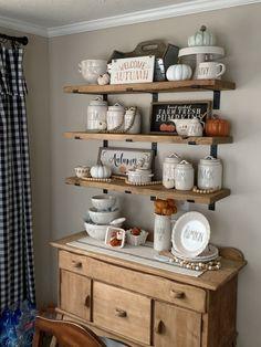 Rae Dunn fall organic honey souffle tea on Mercari Decor, Coffee Bar Home, Kitchen Remodel, Kitchen Decor, Bungalow Decor, Kitchen Dining Room, Kitchen Wall Shelves, Rae Dunn, Shabby Chic Kitchen