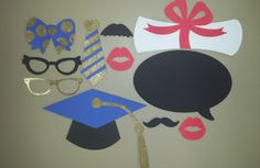Items similar to Graduation Photo Booth Props, Graduation Props/ Choose Your School Colors set of 16 props) on Etsy Graduation Theme, Graduation Photos, Photo Booth Props, Event Design, Party Supplies, Etsy Shop, Unique Jewelry, Handmade Gifts, Check