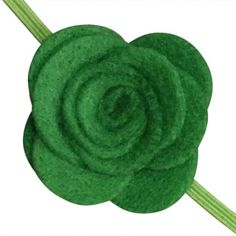 FUN 3-D Felt Rose Skinny Elastic Headband. Perfect for newborn and baby, but can be sized for older girls. Green