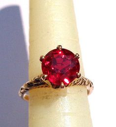 GOTHIC VICTORIAN 6PRONG 10k 2.25CT RUBY RED SPINEL HAND ENGRAVED ENGAGEMENT RING