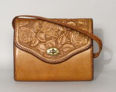 Vintage Floral Tooled Leather Purse  I bought this at thrift store three years ago!