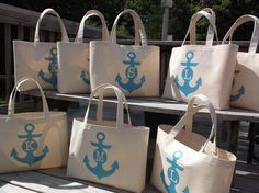 SET of 8  ANCHOR MONOGRAM Beach Wedding Tote Bag in Turquoise Ink with individual monograms in center of anchor.  Great for bridesmaids gifts or girls' weekend out or just any fun occasion! Choose from our color gallery. www.irongrillers.com