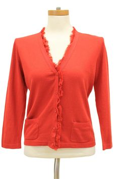 CAbi 165 Red Party Card Cashmere Blend Cardigan Sweater Size s