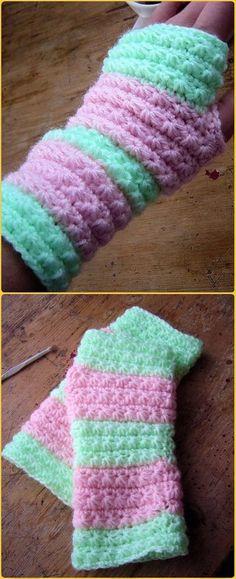 Crochet Star Stitch Hand Warmers Free Pattern - Crochet Arm Warmer Free Patterns