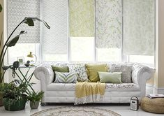 Let your creativity shine by mixing and matching patterned Roller blinds at your window Bay Window Dressing, Vivid Colors, Colours, Roller Blinds, Color Combinations, House Design, Curtains, Make It Yourself, Creative