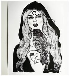 Witch Art, Line Art Drawings, Girl Drawing, Demon Drawings, Dark Tattoo, Witch Drawing, Gemini Tattoo, Witch Tattoo, Demon Tattoo