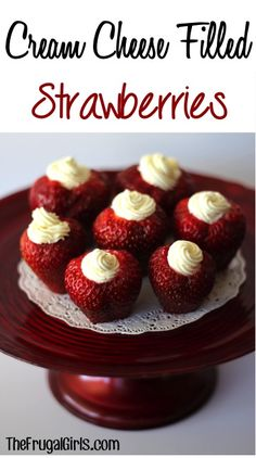 Cream Cheese Filled Strawberries! ~ from TheFrugalGirls.com {perfect for holidays, your summer parties, bridal showers, and baby showers!} These tasty little treats are always a hit at the dessert table! #strawbery #desserts #thefrugalgirls