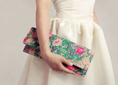 love the combination of a clean white dress and a beautifully patterned clutch