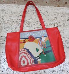 VTG ICON Los Angeles tote bag handbag purse printed leather Golf Sur Mer  #iconlosAngeles #TotesShoppers