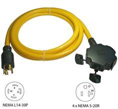 conntek 20501 25ft 20a 4 prong generator outlet splitter cord conntek 20610 010 10ft 30a 4 prong generator outlet splitter 4x