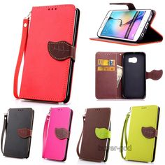 Dual Color leaf Wristlet Card Flip leather stand case cover For Samsung Galaxy #UnbrandedGeneric