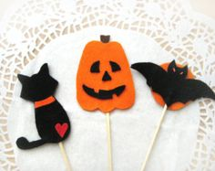 Set of 3- Cake Toppers- Felt Halloween