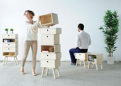 Design Academy Eindhoven graduate Rianne Koens stacked different-sized wooden drawers on top of angled legs to form these furniture pieces